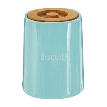 Recipient pentru biscuiți cu capac din lemn de bambus Premier Housewares Fletcher, 1,5 l, albastru