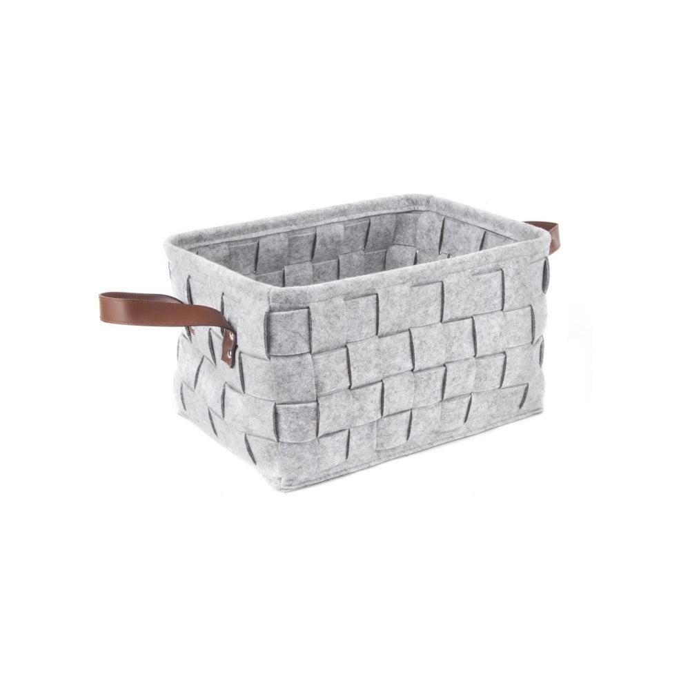 Světle šedý úložný košík s koženými úchyty PT LIVING Storage, délka 38 cm