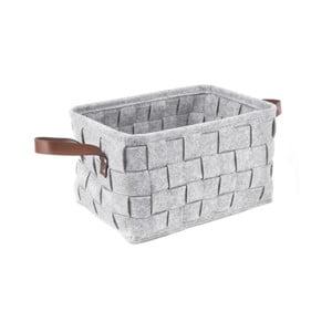 Světle šedý úložný košík s koženými úchyty PT LIVING Storage, délka38cm