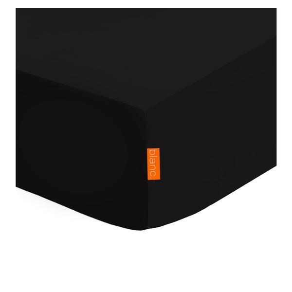 Čierna elastická plachta z čistej bavlny Happy Friday Basic, 90x 200cm