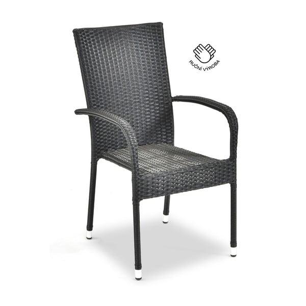 Szare rattanowe krzesło ogrodowe Timpana Frenchie, wys. 95 cm