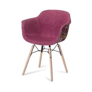 Růžová jídelní židle s nohami z bukového dřeva Furnhouse Flame