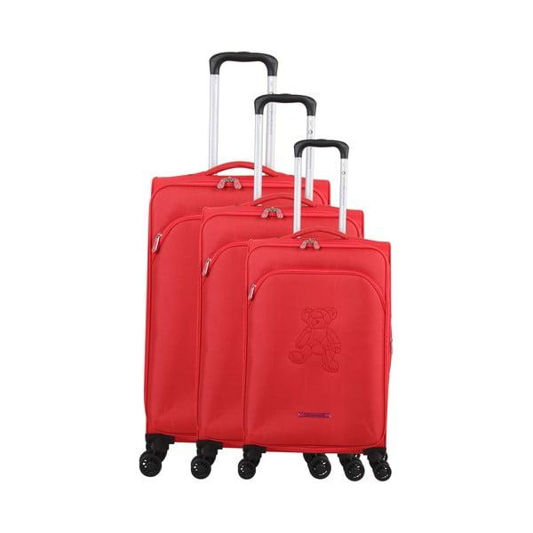 Zestaw 3 czerwonych walizek z 4 kółkami Lulucastagnette Emilia