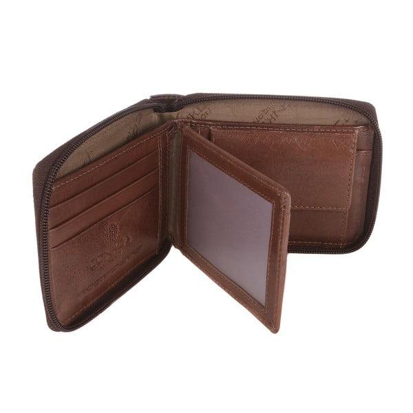 Pánská kožená peněženka Kingsbury' Dark/Chestnut Zip-Round Wallet