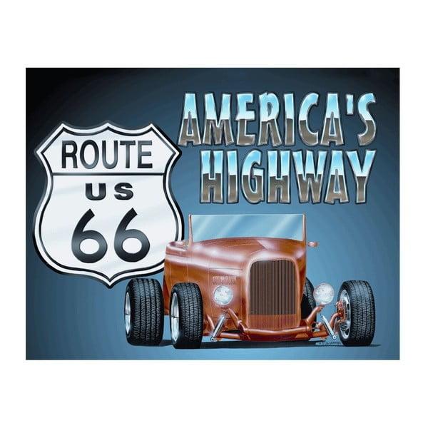 Plechová cedule America´s Highway, 30x40 cm