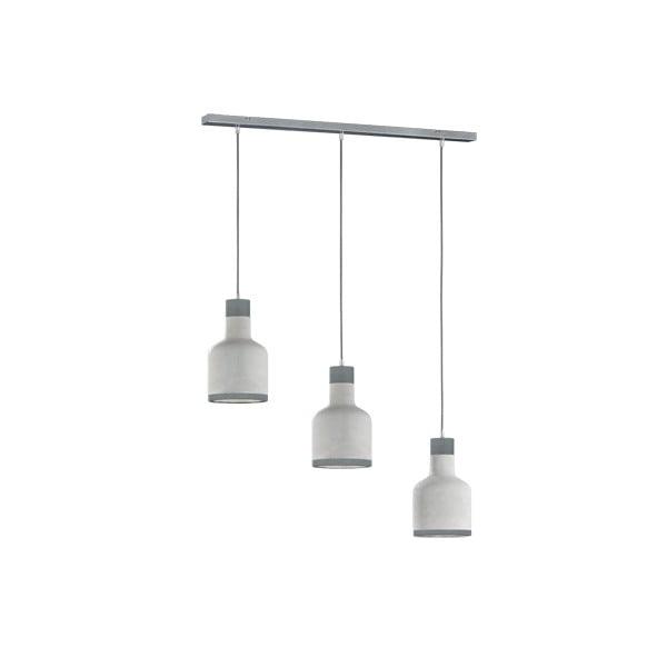 Sivé závesné svietidlo pre 3 žiarovky Trio Rodney, výška 1,5 m