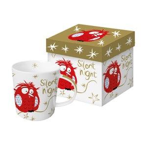 Hrnek z kostního porcelánu s vánočním motivem v dárkovém balení PPD Silent Night Robin, 350 ml