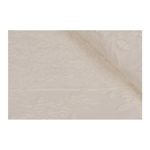 Sada 2 béžových ručníků z čisté bavlny Lora, 50 x 90 cm