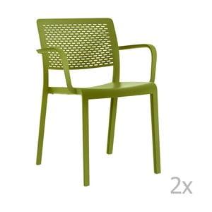 Sada 2 zelených zahradních židlí s područkami Resol Trama