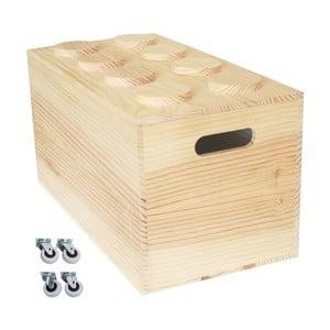 Box na kolečkách Wood Lego, 52x27x27 cm