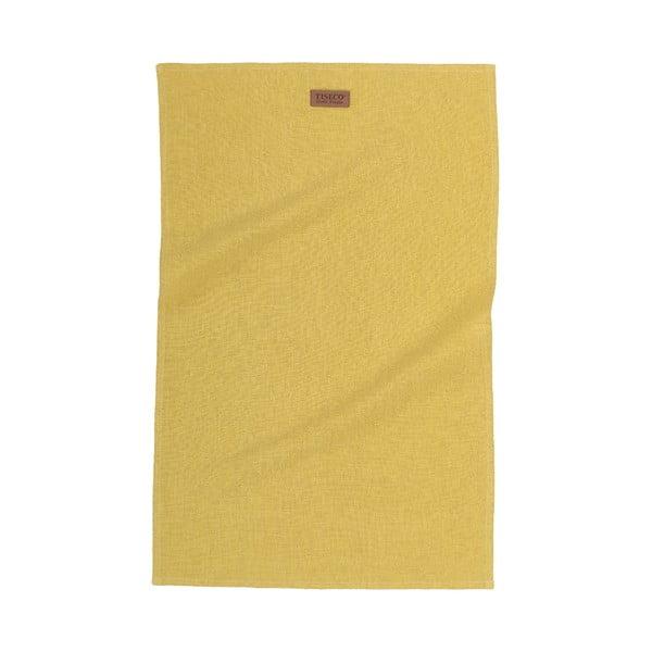 Okrově žlutá utěrka s příměsí lnu Tiseco Home Studio, 42 x 68 cm