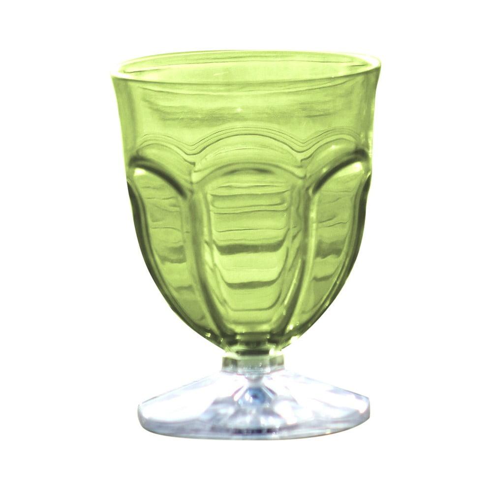 Sada 6 zelených plastových sklenic na vodu Sunvibes Happy, 250 ml