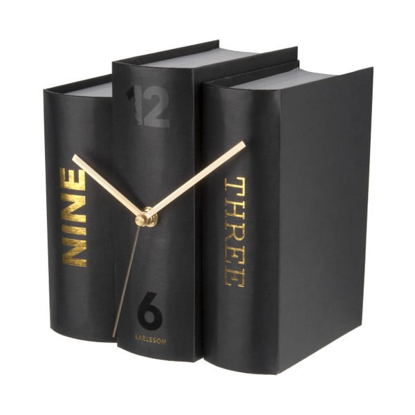 Ceas de birou, formă cărți Karlsson, negru