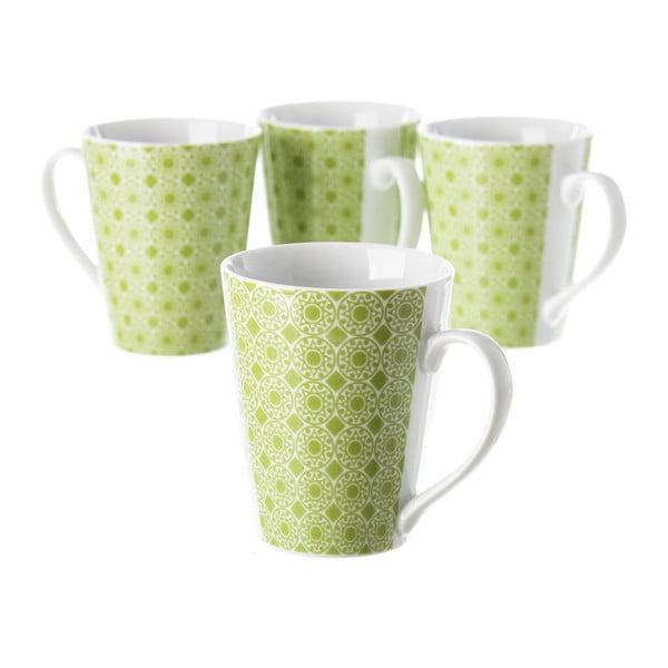Sada 4 zelených porcelánových hrnečků Unimasa Mandall, 300ml