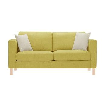 Canapea pentru 3 persoane Stella Cadente Maison Canoa galbenă, cu 2 perne crem de la Stella Cadente Maison