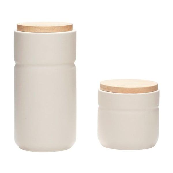 Zestaw 2 pojemników ceramicznych Hübsch Elin