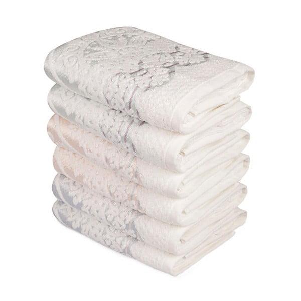 Zestaw 6 ręczników z ozdobnym motywem Madame Coco Baroque, 90x50 cm