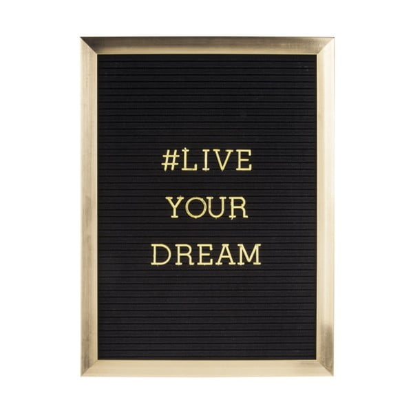 Ramka na zdjęcia ze złotym napisem PT LIVING Quote, 30x40 cm