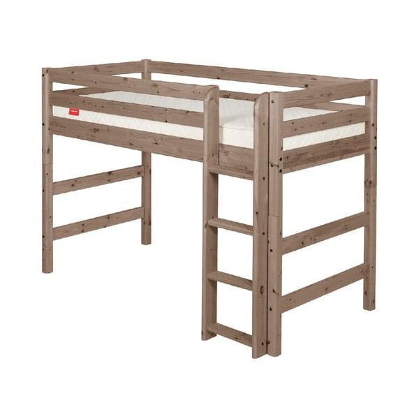 Brązowe wyższe łóżko dziecięce dla 2 osób z drewna sosnowego Flexa Classic, 140x200 cm