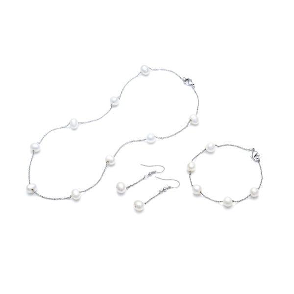 Sada náhrdelníku, náušnic a náramku z říčních perel GemSeller Geum, bílé perly