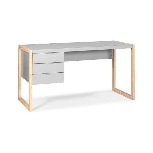 Šedý psací stůl s nohami z borovicového dřeva Marckeric Frank
