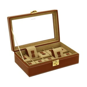 Hnědý box na deset hodinek Friedrich Lederwaren Cordoba