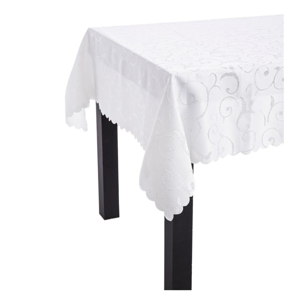 Bílý ubrus s dekorativním motivem Unimasa, 220 x 150 x 0,2 cm