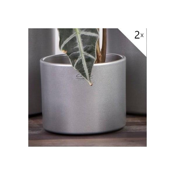 Sada 2 stříbrných květináčů Ovale, 15 cm
