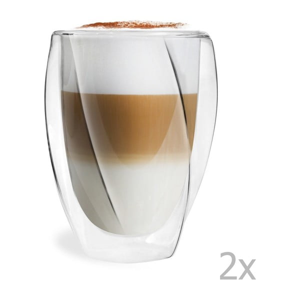 Set 2 pahare cu perete dublu Vialli Design Latte, 300 ml
