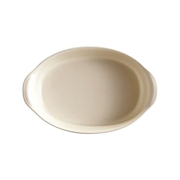 Tavă ovală pentru copt Emile Henry, 1,3 l, ivoriu