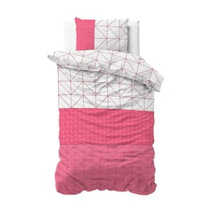 Lenjerie de pat din micropercal Sleeptime Gino, 140 x 220 cm, roz-alb