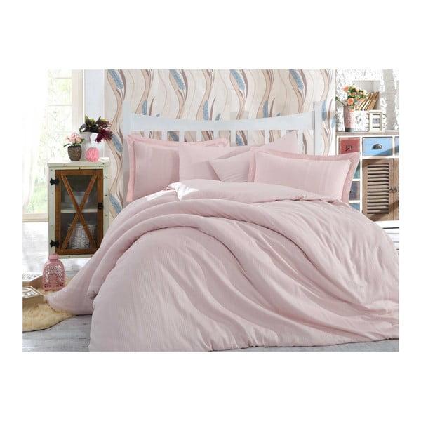 Lenjerie de pat cu cearșaf  Stripe, 200 x 220 cm, roz