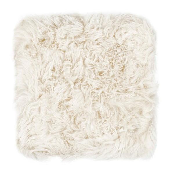 Biely sedák z ovčej kožušiny na jedálenskú stoličku Royal Dream, 40 × 40 cm