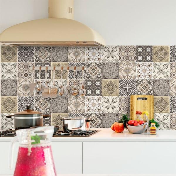 Sada 9 nástenných samolepiek Ambiance Cement Tiles Ancona, 10 × 10 cm