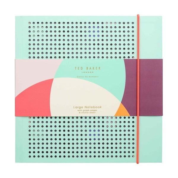 Colour By Numbers világostürkiz jegyzetfüzet - Ted Baker