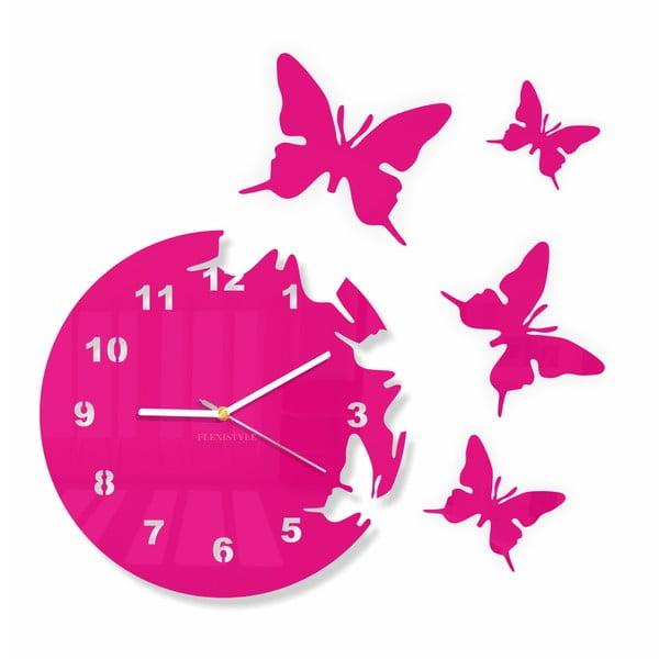 Hodiny z plexiskla Butterfly Pink