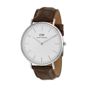 Pánské hodinky s hnědým páskem Daniel Wellington York Silver, ⌀40mm