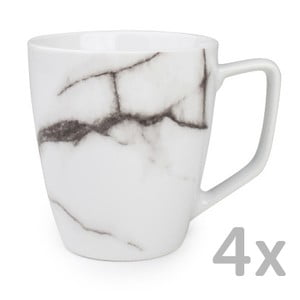 Sada 4 bílých hrnečků Salt&Pepper Marble, 0,36ml