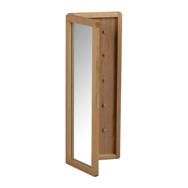 Přírodní dubová zrcadlová skříňka na klíče Rowico Metro