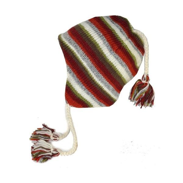 Vlněná čepice s ušima Barevné pruhy