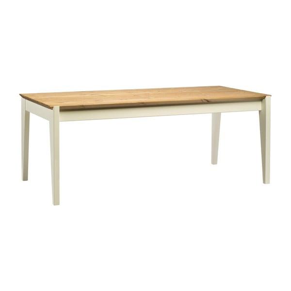 Hook borovi fenyőfa asztal fehér lábakkal, hossza 190 cm - Askala