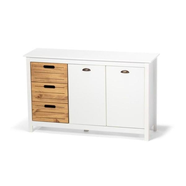 Bílý příborník z borovicového dřeva s 5 šuplíky loomi.design Ibiza