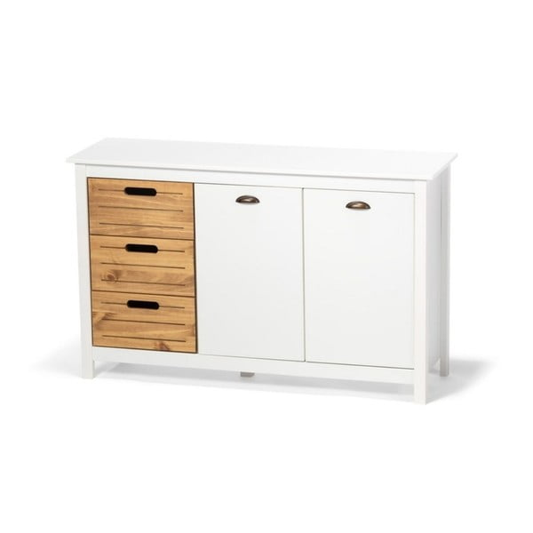 Dulap din lemn de pin și 5 sertare loomi.design Ibiza, alb