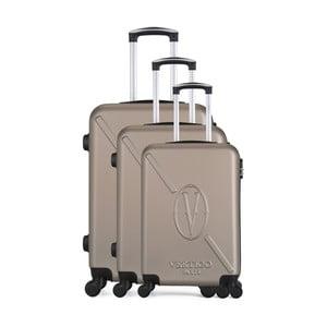 Sada 3 hnědobéžových cestovních kufrů na kolečkách VERTIGO Cadenas Integre Moues