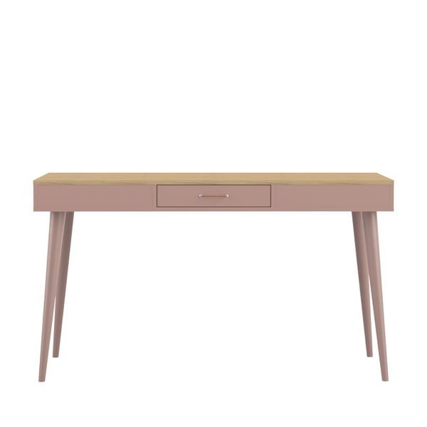Růžový pracovní stůl v dekoru dubového dřeva Symbiosis Horizon