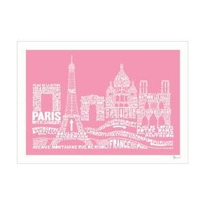 Plakát Paris Pink&White, 50x70 cm