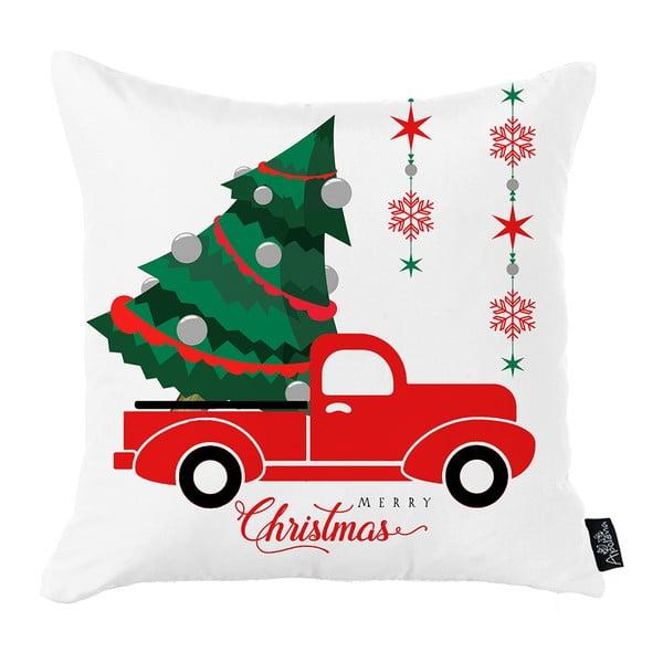 Biela vianočná obliečka na vankúš Apolena Honey Christmas Car and Tree, 45 x 45 cm