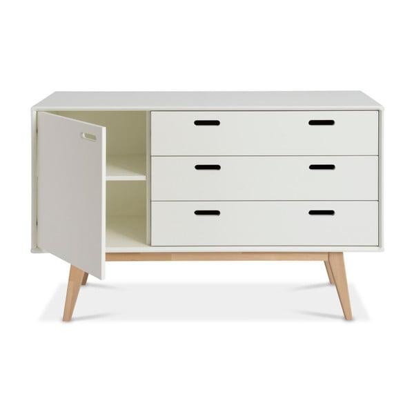 Bílá ručně vyráběná skříňka z masivního březového dřeva Kiteen Alanko, 75x120cm