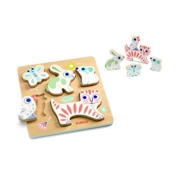 """Puzzle de inserat din lemn pentru copii Djeco """"Animăluțe colorate"""" poza"""