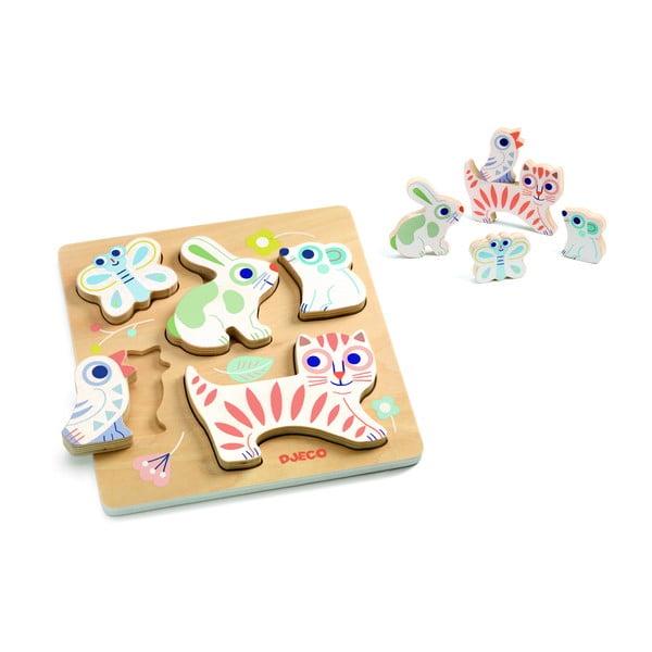 Detské vkladacie drevené puzzle Djeco Pastelové mláďatká